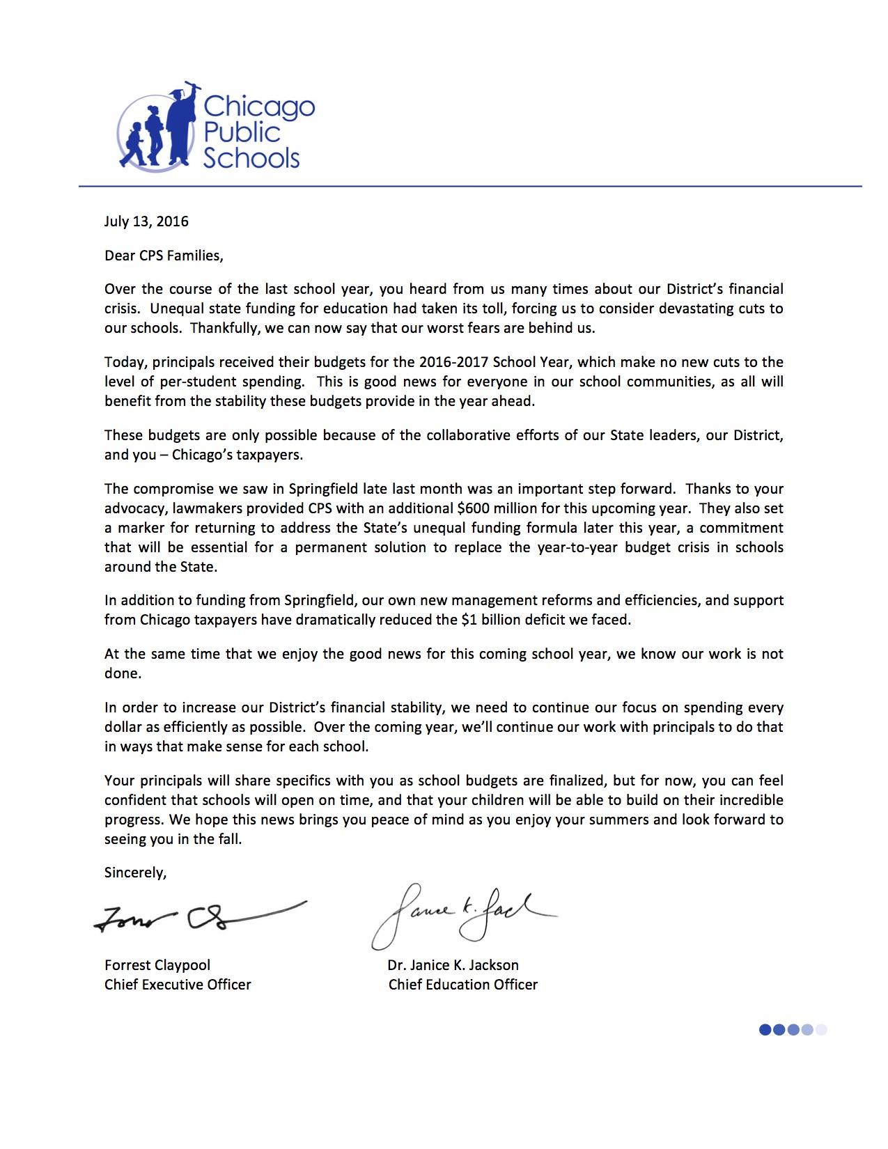 FY 17 Budget Stakeholder Letter (07.13.16)