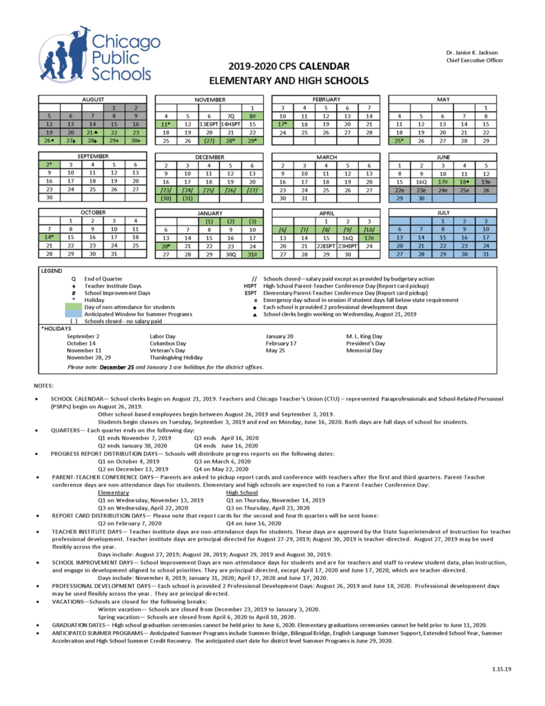 2019 2020 School Calendar is now available – Beaubien Elementary