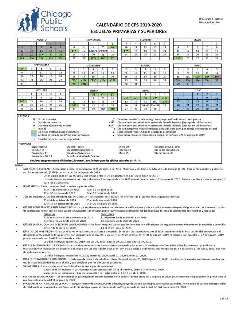 Cps Calendar 2020 2019 2020 School Calendar is now available – Beaubien Elementary